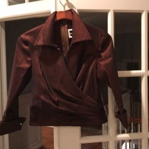 Tadashi soji formal bronze wrap top